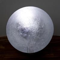 Tekno Moon Bodenleuchte, LED warm-weiß, Silber / Nickel