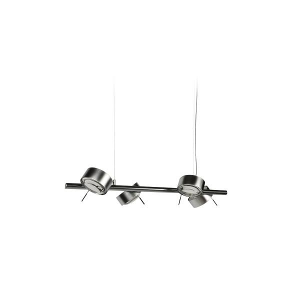 Top Light Puk Maxx Quartett LED Pendelleuchte, Chrom matt, mit Einsätzen Glas satiniert / Linse klar