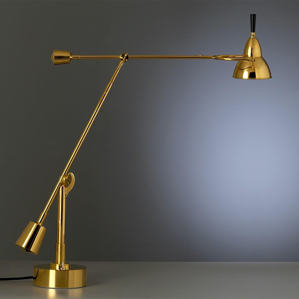 Tecnolumen EB 27 Schreibtischleuchte, Metall, 24 Karat vergoldet