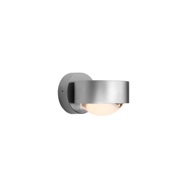 Top Light Puk Wall LED Wandleuchte, Chrom matt, mit Einsätzen Glas satiniert / Linse klar