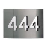 Albert Leuchten 69097 Hausnummer, 3 Ziffern, Edelstahl (Hausnummer 444)