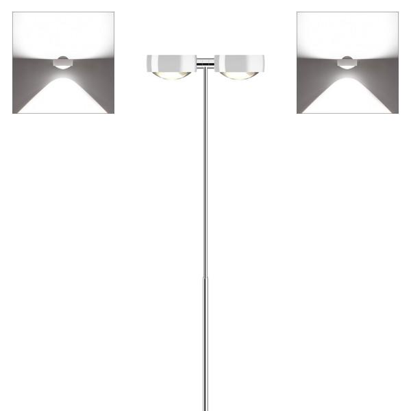 Occhio Sento E LED terra Stehleuchte, Chrom / weiß glänzend