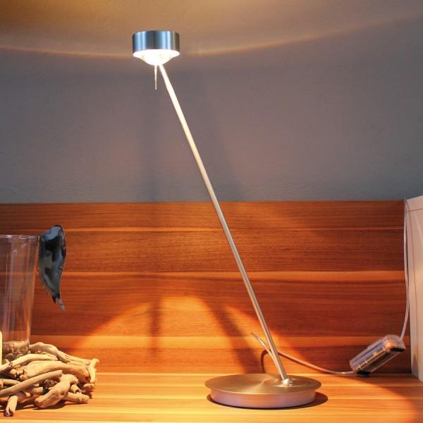 Top Light Puk Table Single Tischleuchte, 80 cm, Chrom matt, Glas satiniert / Linse klar