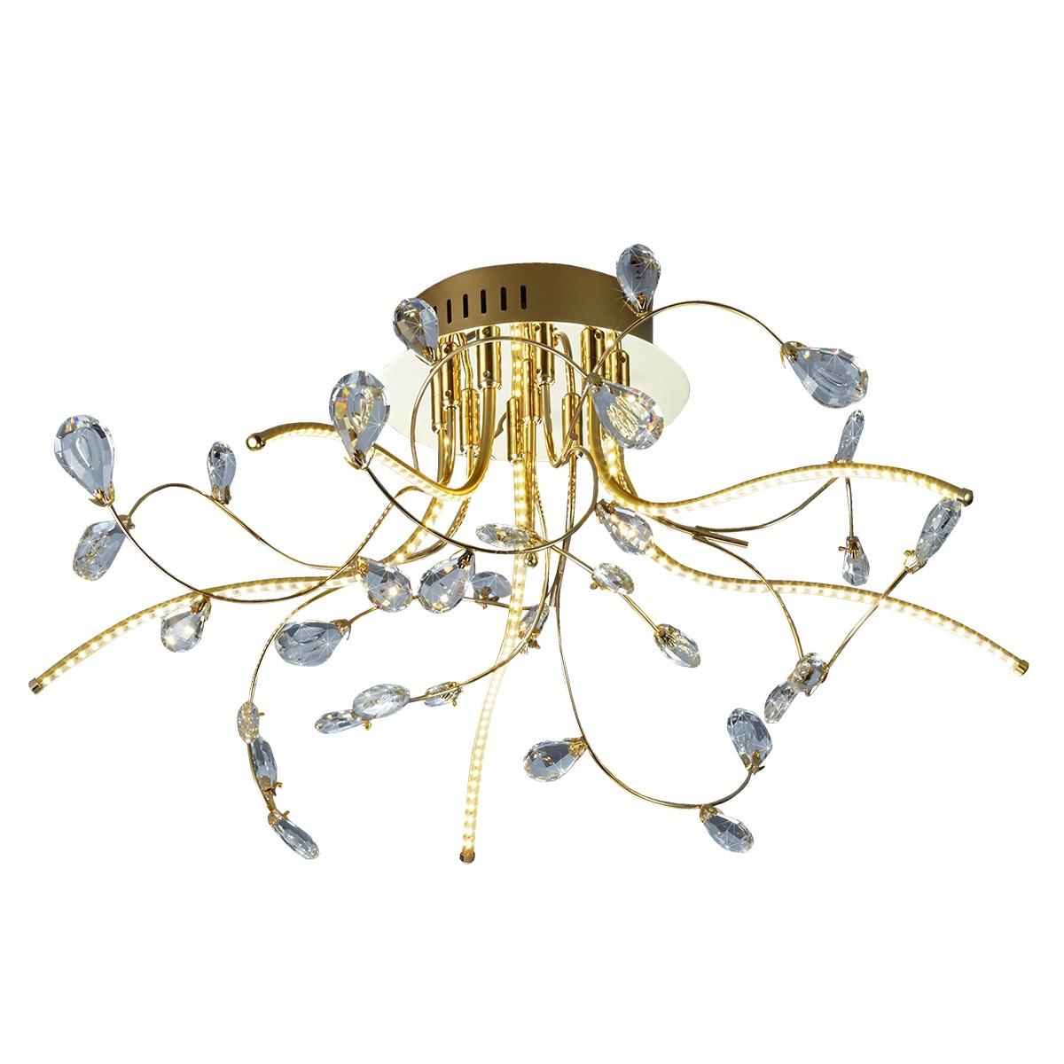 B-Leuchten Crystal LED Deckenleuchte, Ø: 54 cm, Messing blank