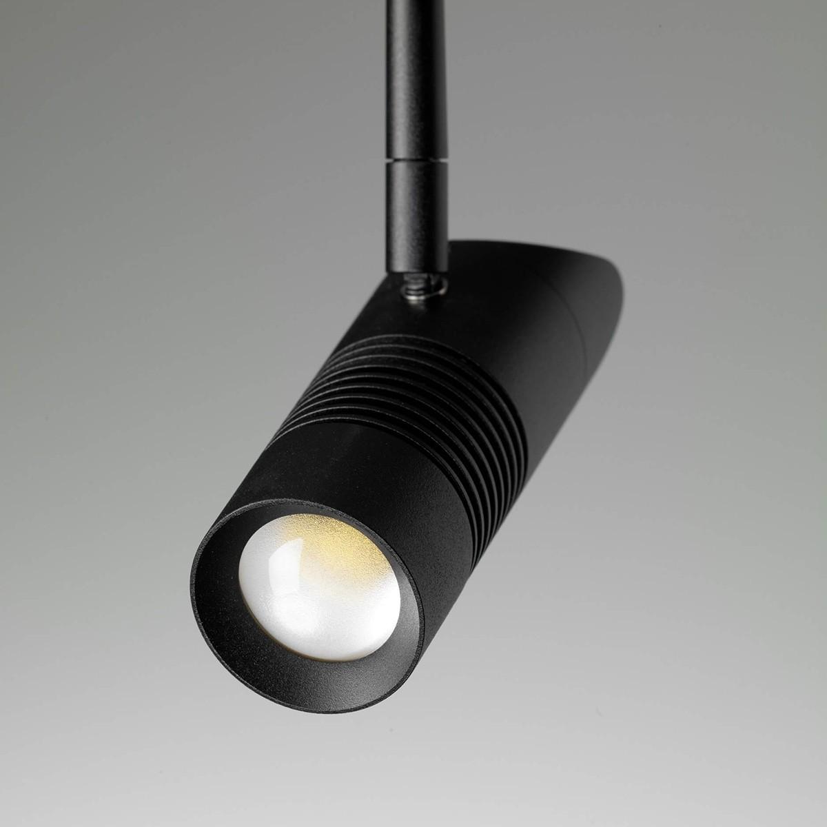 Oligo PHASE A Little Bit More LED Strahler, 2700 K, Stange: schwarz matt, Korpus: schwarz matt