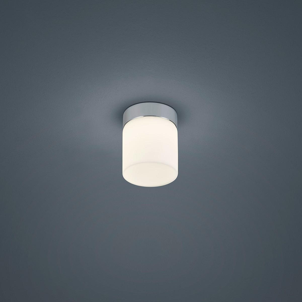 Helestra Keto Deckenleuchte, rund, Chrom - Opalglas