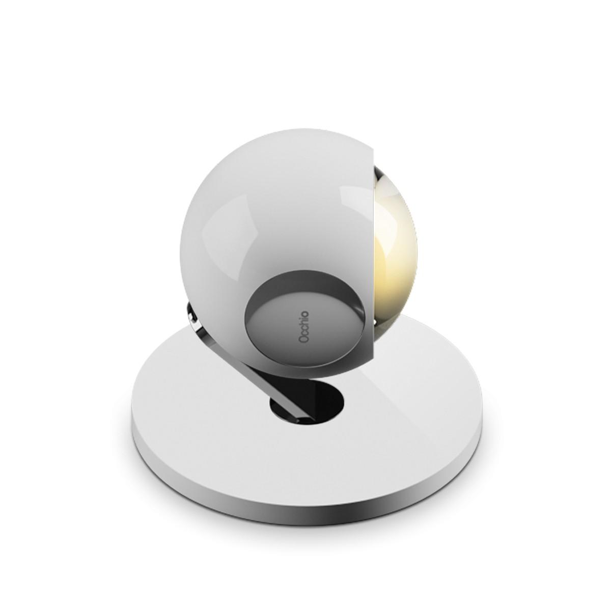 Occhio io 3d basso C Boden- / Tischleuchte, 2700 K, weiß glänzend, pads und body Chrom
