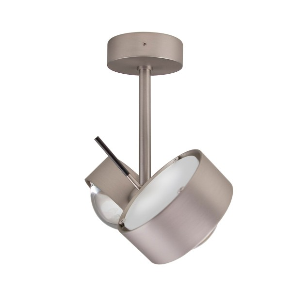 Top Light Puk Side Twin LED, 10 cm, Nickel matt, Glas satiniert / Linse klar