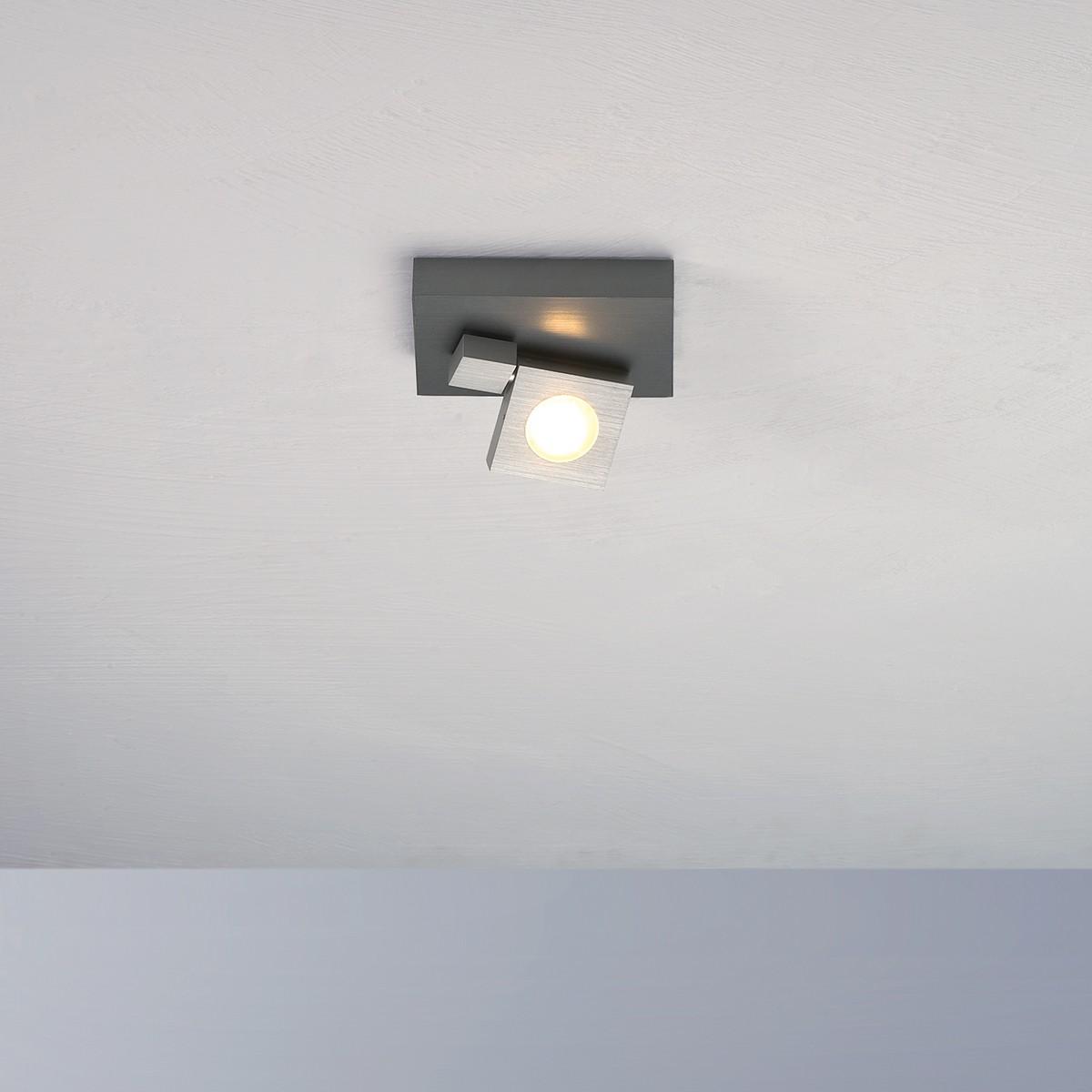 Bopp Flash LED Deckenleuchte 1-flg., Aluminium geschliffen - anthrazit lackiert