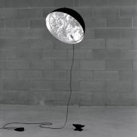 Stchu-Moon 03 Pendelleuchte, Ø: 40 cm, Silber, außen schwarz