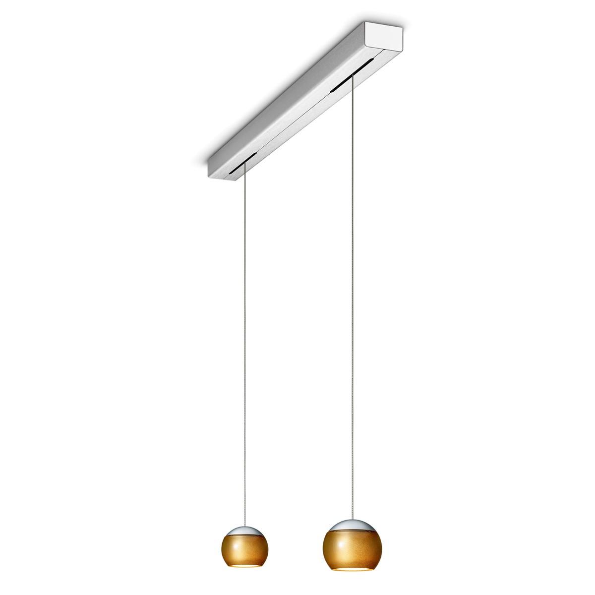 Oligo Balino LED Pendelleuchte, 2-flg., 1. Generation, Chrom matt / Gold glänzend