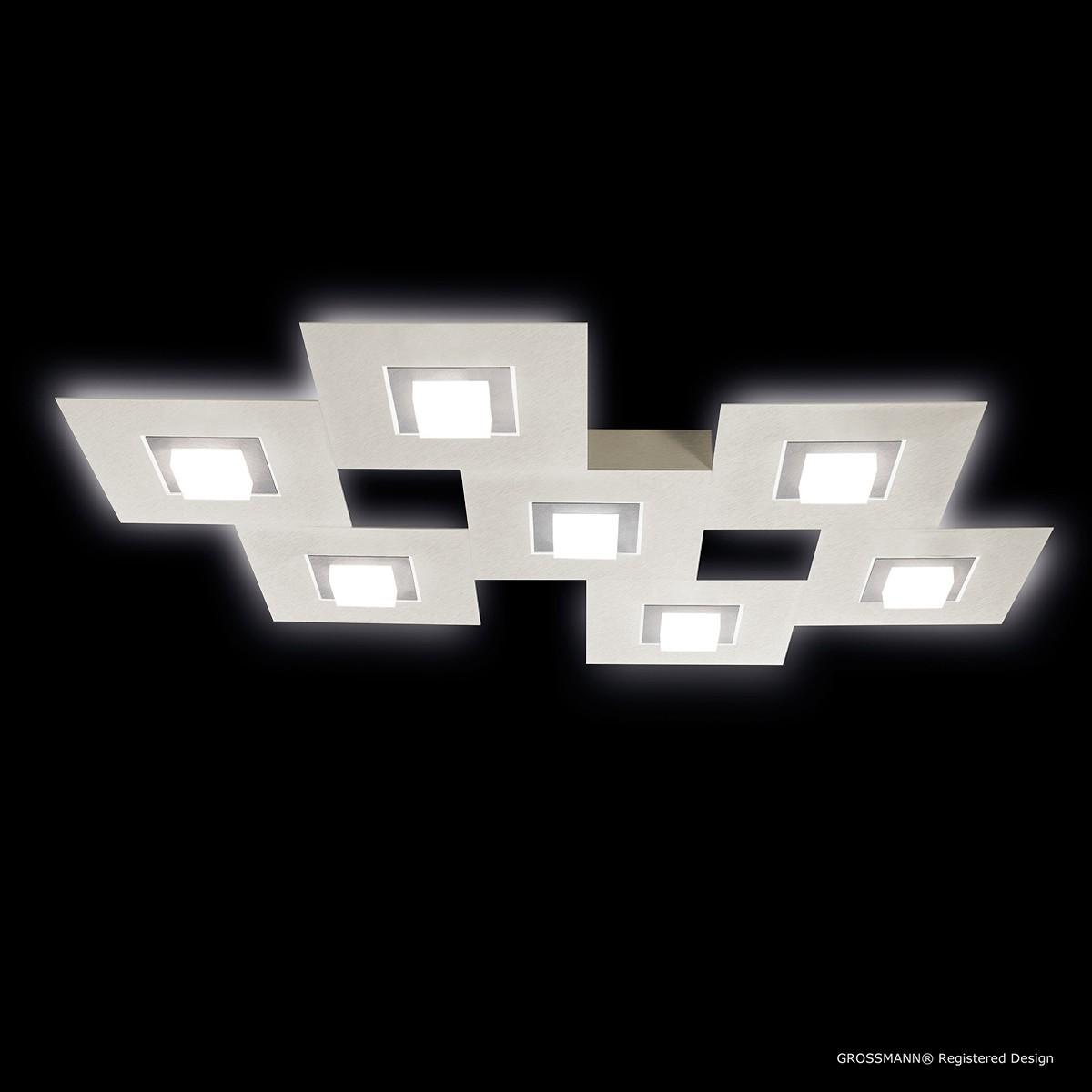 Grossmann Karree Wand- / Deckenleuchte, 7-flg., perlglanz, Rahmen: Titan