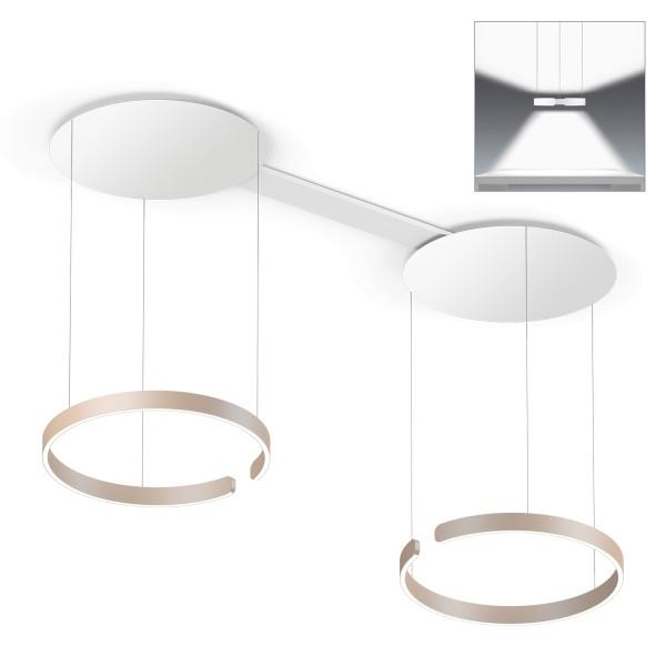 Occhio Mito sospeso due 60 wide Pendelleuchte, golden matt, Lichtausstrahlung: direkt und indirekt breit abstrahlendes Licht