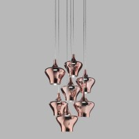 Nostalgia Glas Medium Pendelleuchte 7-flg., Chrom - Rose Gold