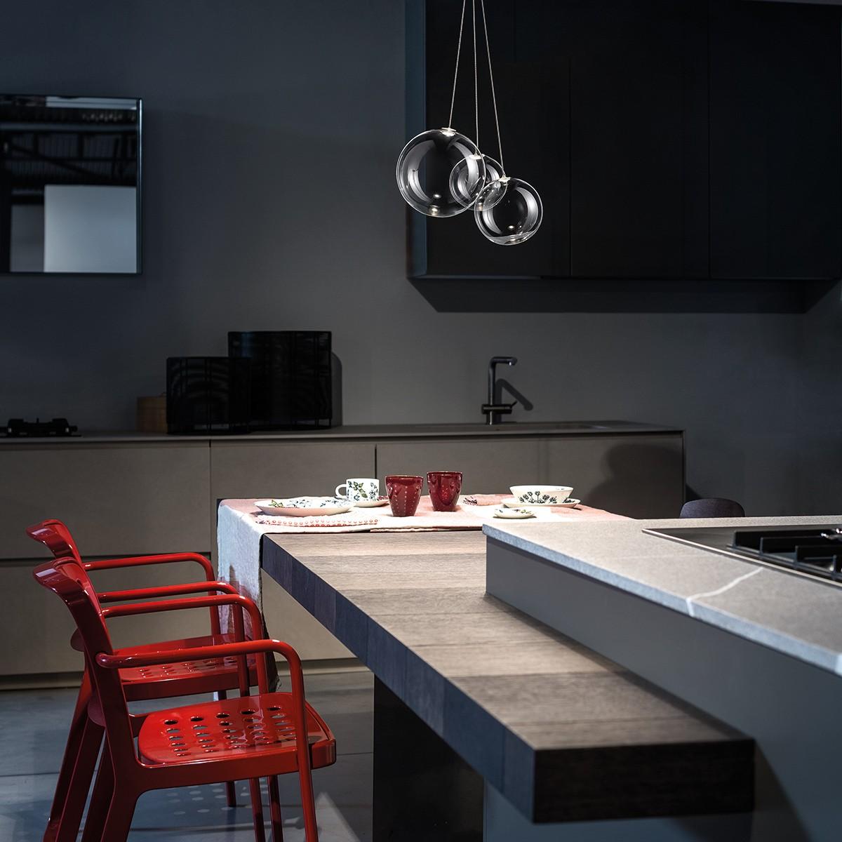 Studio Italia Design Random Pendelleuchte, 3-flg., Chrom - Kristallglas