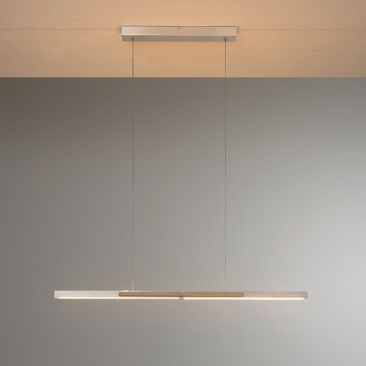 Bopp Link LED Pendelleuchte mit Casambi Modul, Aluminium geschliffen - Eiche hell