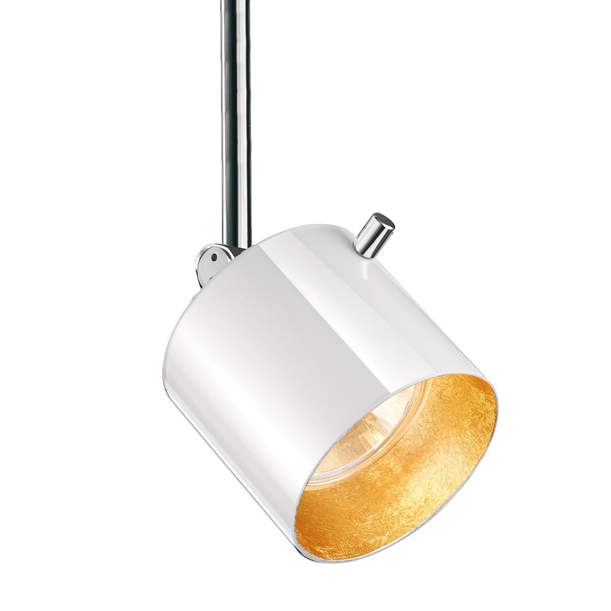 Bruck 800241 Glas Entblendring / Glasring für Strahler, Stift: Chrom / Glas: weiß - Gold