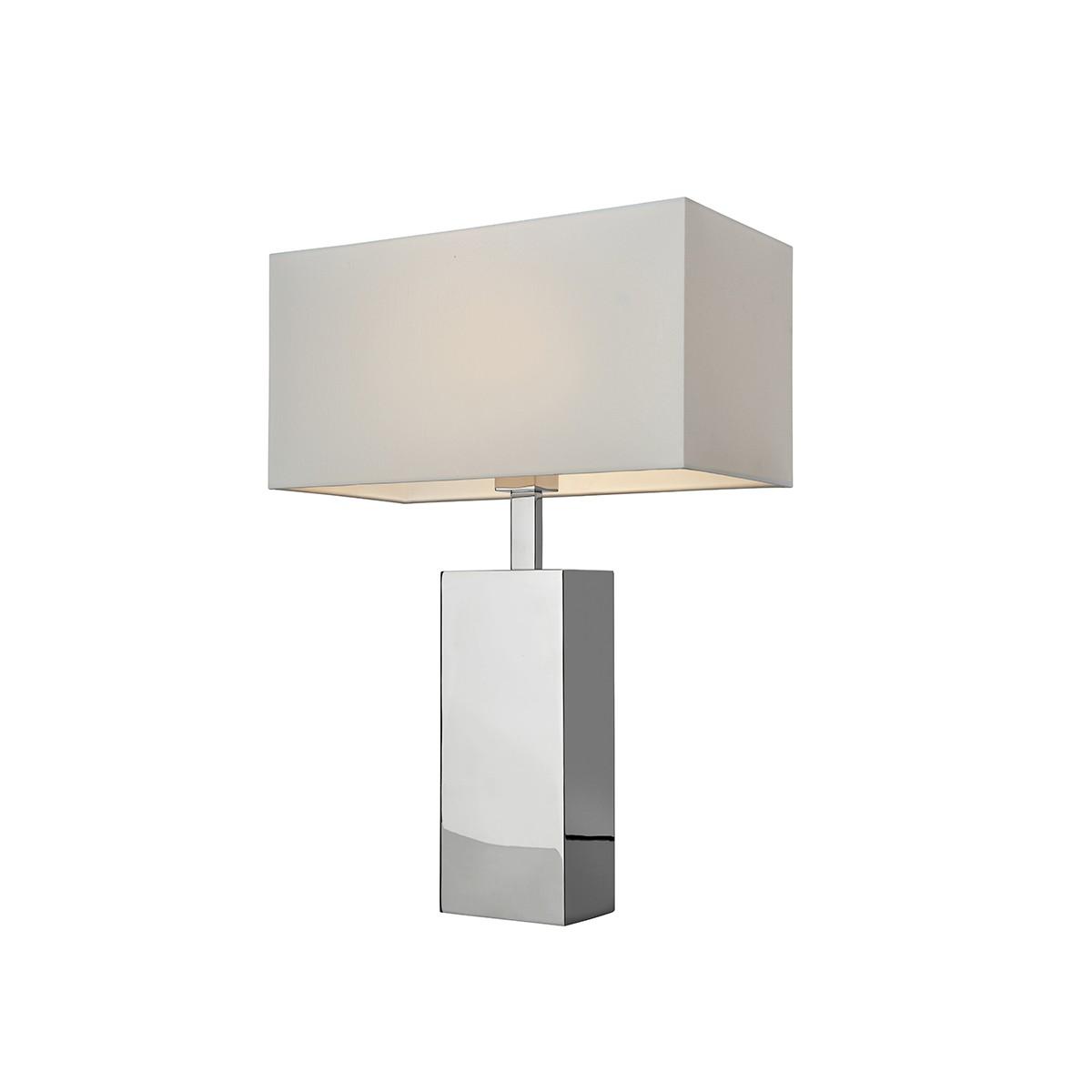 Sompex Block Tischleuchte, Höhe: 66 cm, Edelstahl - Textil: weiß