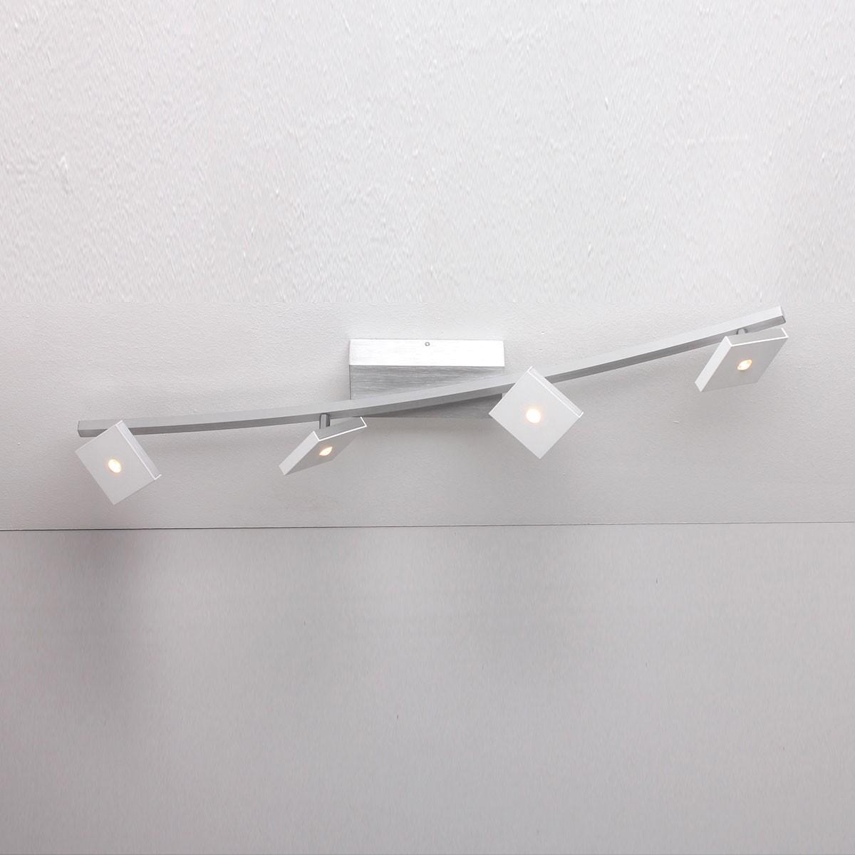 Bopp Domino LED Deckenleuchte, 4-flg., Aluminium geschliffen - weiß
