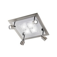 Domino LED Wand- / Deckenstrahler, Nickel matt, 45 x 45 cm
