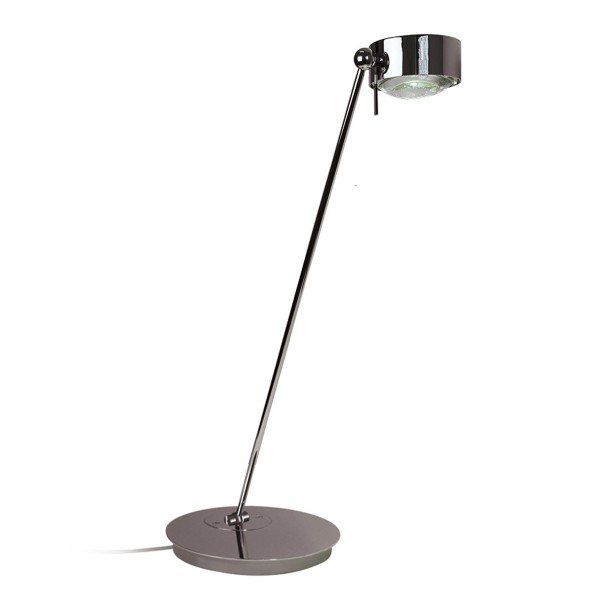 Top Light Puk Maxx Table LED Tischleuchte, 80 cm, Chrom, Glas satiniert / Linse klar