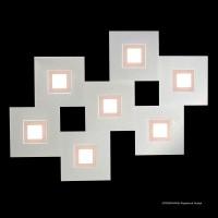 Karree Wand- / Deckenleuchte, 7-flg., perlglanz, Rahmen: pastellkupfer