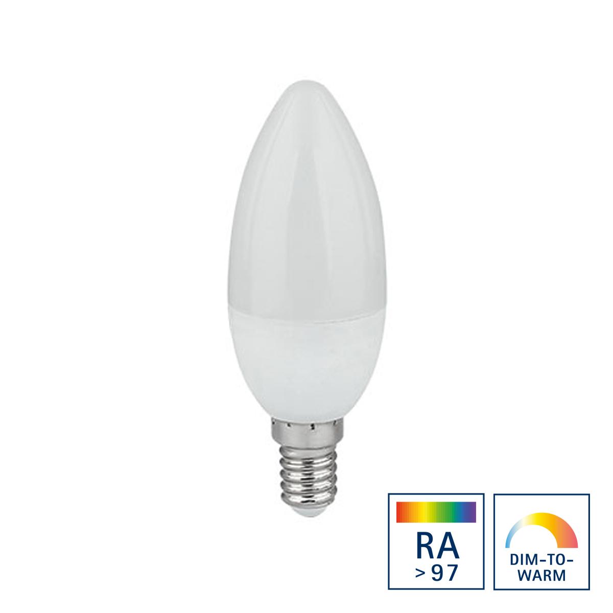 Sigor LED Kerze E14, 6,5 W, Ra>97, Dim-to-Warm, Auslaufmodell 5945333