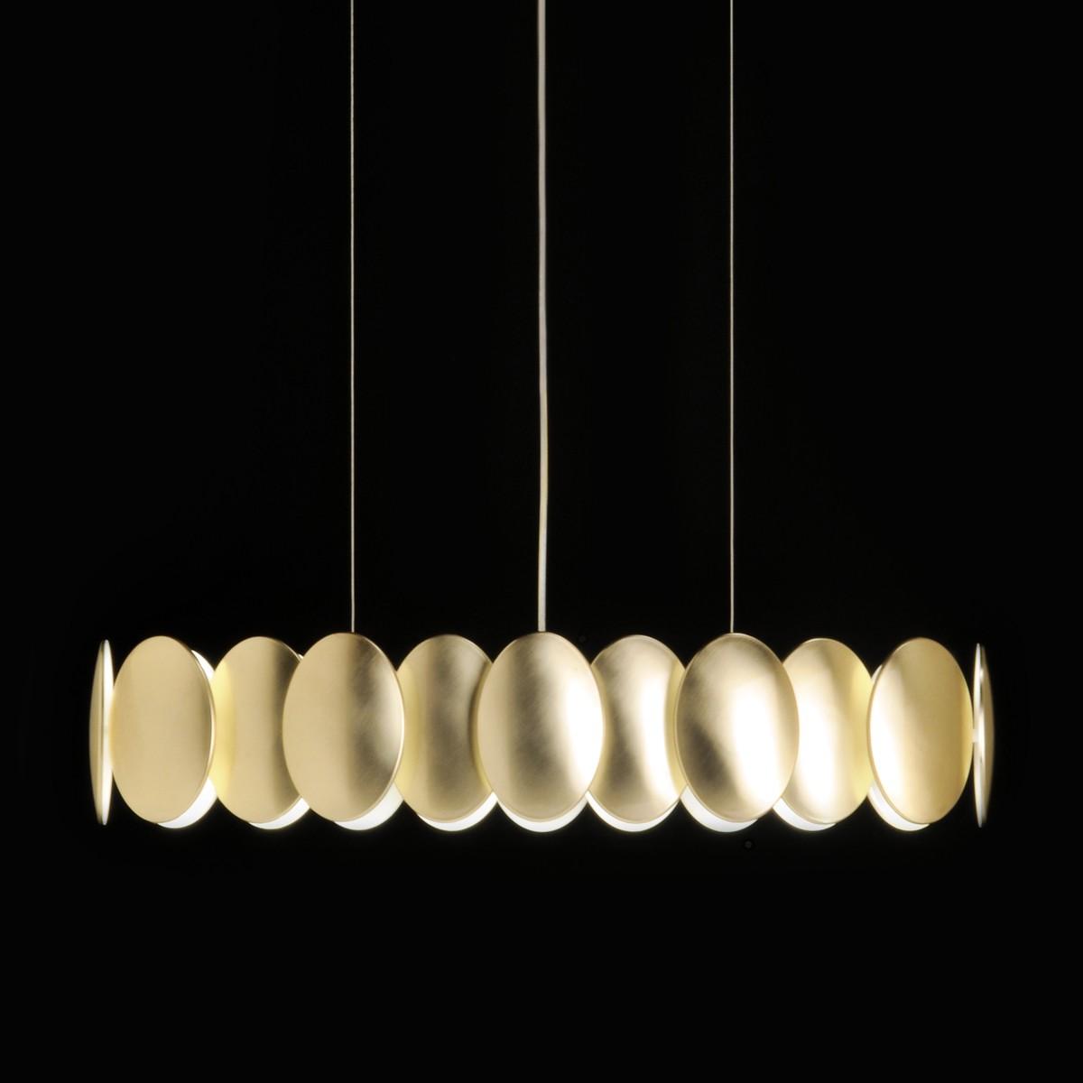Milan Obolo Pendelleuchte, oval, Goldoptik gebürstet